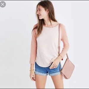 Madewell Peach Baseball Dual Color Long Sleeve Tee